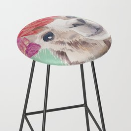 Flower Crown Llama Bar Stool
