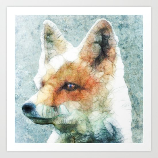 abstract fox Art Print