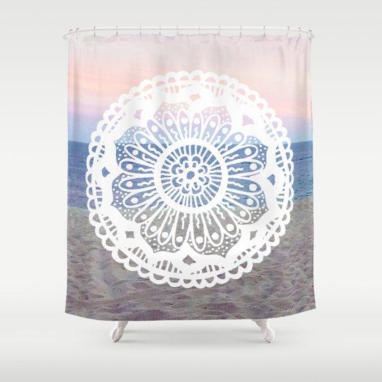 Beach Sunset Mandala Shower Curtain