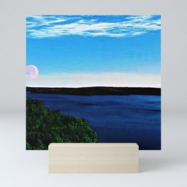 Scituate Reservoir with red sailor's moon - Scituate, Rhode Island Mini Art Print
