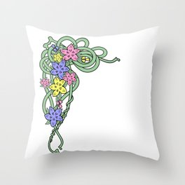 Abstract flowers corner Throw Pillow