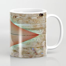 Warm Triangles on Found Wood Paneling Coffee Mug