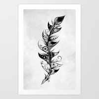 feather Art Prints featuring Feather by LouJah