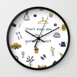 Start Each Day With a Grateful Heart - Cute things Wall Clock