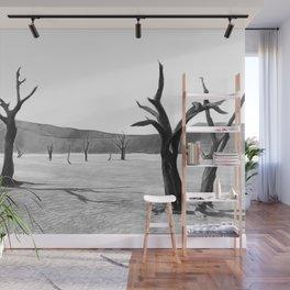 deadvlei desert trees acrbw Wall Mural