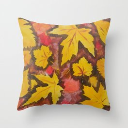 Autumn Leafs Red Yellow Brown Fall pattern based on the acrylic painting Throw Pillow
