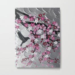 pink and white sakura cherry blossom flowers blossoms flying in the wind with birds on a branch Metal Print