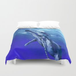 Whale with baby Duvet Cover