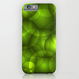 Glowing light green soap circles and volumetric green bubbles of air and water. iPhone Case