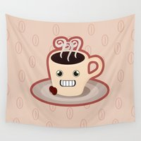 kawaii Wall Tapestries featuring Kawaii Coffee by Nir P
