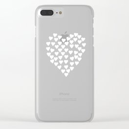 Hearts on Heart White on Black Clear iPhone Case
