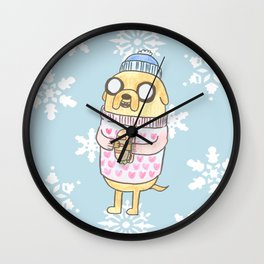 Jake in the Snow Wall Clock