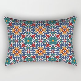 Colorful Azulejos Pattern Rectangular Pillow