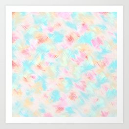 Modern Girly Pink Yellow Blue Paint Daub Art Art Print