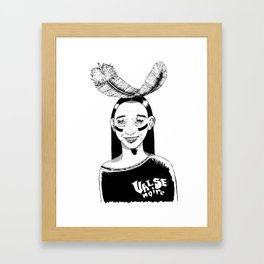 La jeune fille et la plume // Young girl and the feather Framed Art Print