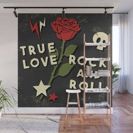 Grunge rock slogan print Wall Mural