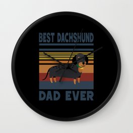 Best Dachshund Dad Ever Dog Four-legged Puppy Cute Wall Clock