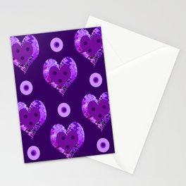 Violet heart buttons Stationery Cards