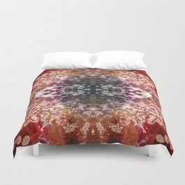 Boho Red Burnout Kaleidoscope Lace Duvet Cover