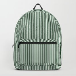 Mini Forest Green and White Rustic Vertical Pin Stripes Backpack