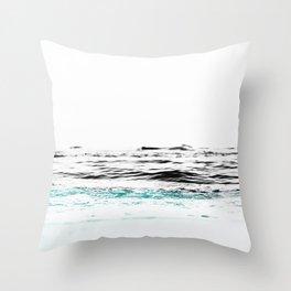 Minimalist ocean waves Throw Pillow