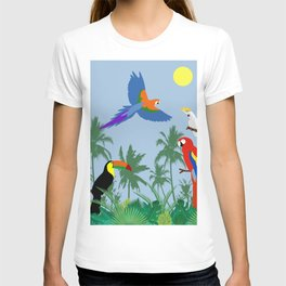 Tropical birds in the jungle (blue version) T-shirt