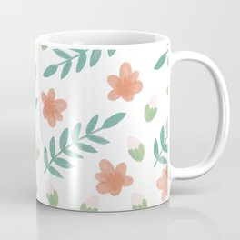 Falling orange flowers and green leaves Coffee Mug