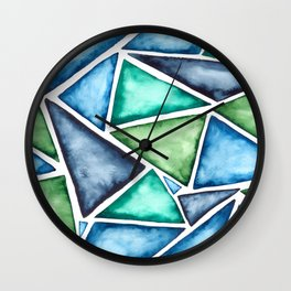 Large scale fragmentation. Watercolor triangles. Wall Clock