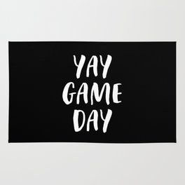 Yay Game Day Football Sports Team White Text Rug