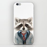 raccoon iPhone & iPod Skins featuring Raccoon by Leslie Evans