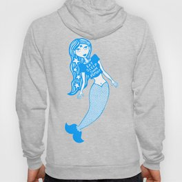 Eat, sleep, swim, repeat mermaid (white and blue) Hoody