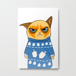 Ginger Cat in Holiday Sweater 03 Metal Print