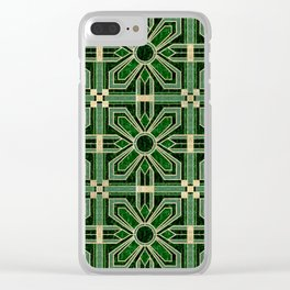 Art Deco Floral Tiles in Emerald Green and Faux Gold Clear iPhone Case