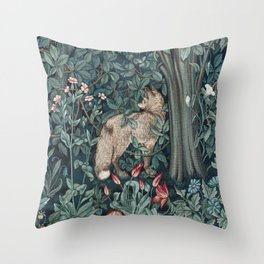 William Morris Forest Fox Tapestry Throw Pillow
