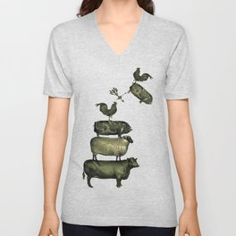 Farm Living - Stacked Animals Unisex V-Neck