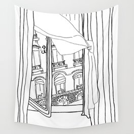 Window View in France  //  ink drawing Wall Tapestry