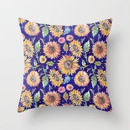 Sunflowers on Indigo Throw Pillow