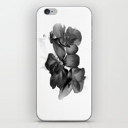 Black Geranium in White iPhone Skin