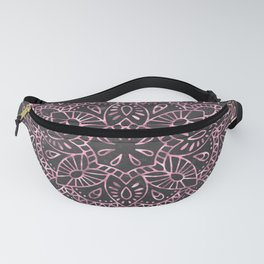 Mandala Night Rose Gold Garden Pink Black Yellow Fanny Pack