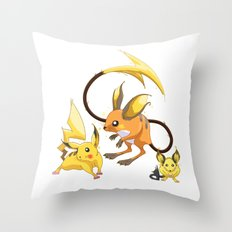 Electric Mouse Evolution Throw Pillow