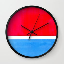 Colorful Bright Minimalist Rothko Midcentury Modern Art Vintage Pop Art Neon Red Cerulean Blue Wall Clock