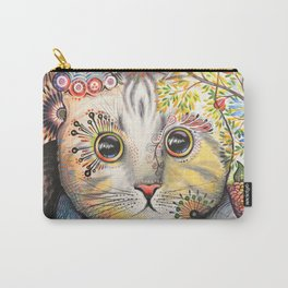 Smokey ... abstract cat art animal pet painting Carry-All Pouch