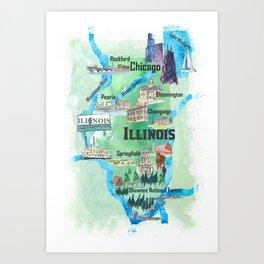 Illinois USA State Illustrated Travel Poster Favorite Tourist Map Art Print