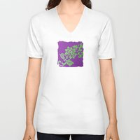 floral pattern V-neck T-shirts featuring Floral Pattern by Marjolein
