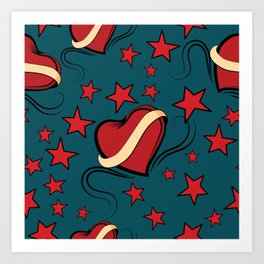 Hearts and stars on Rockabilly Tattoos Collection - Pop Art Print
