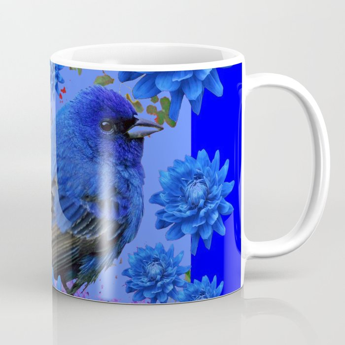 Blue Bird & Blue Flowers Pattern Art Coffee Mug
