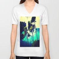 spain V-neck T-shirts featuring Menorca Spain by Sankakkei SS