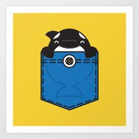 pocket Art Prints featuring Pocket Whale by Steven Toang
