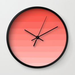 Living Coral Sunset Ombre Stripes Wall Clock