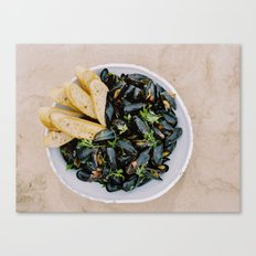 Mussels & Bread Canvas Print